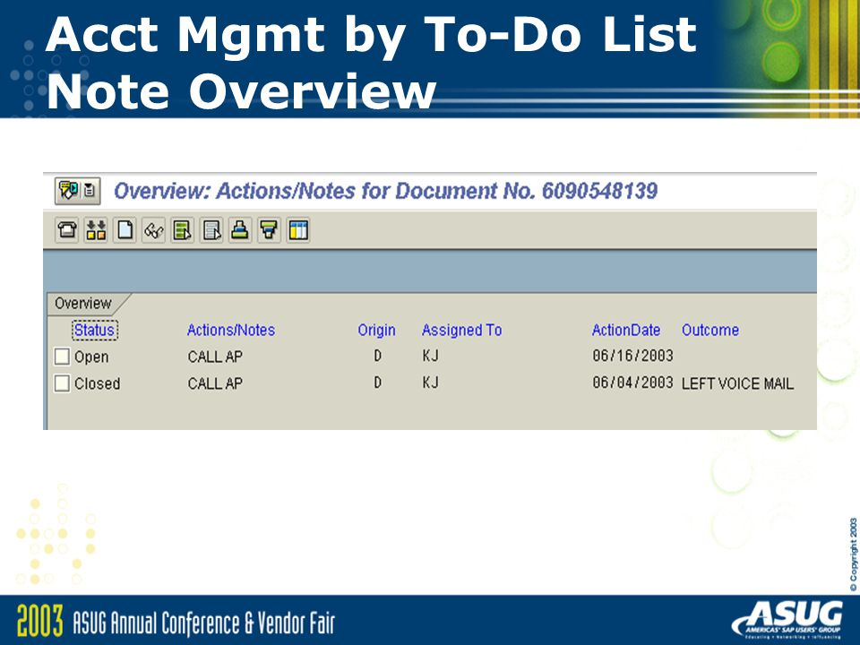 Acct Mgmt by To-Do List Note Overview