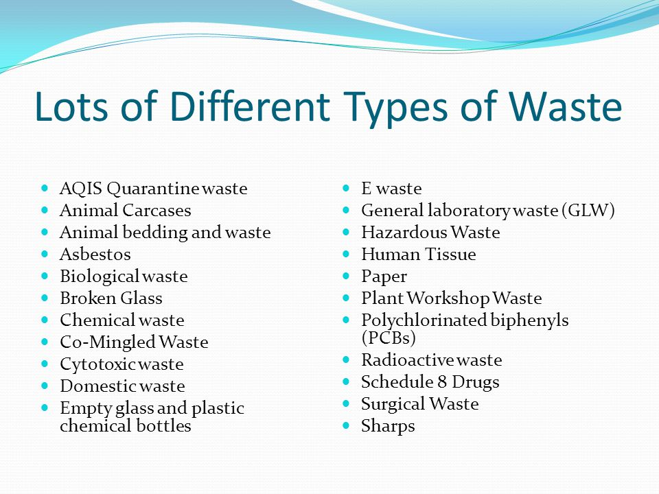 Lots of Different Types of Waste