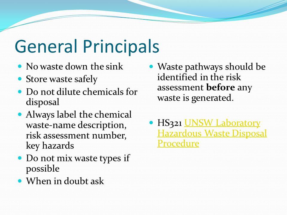General Principals No waste down the sink