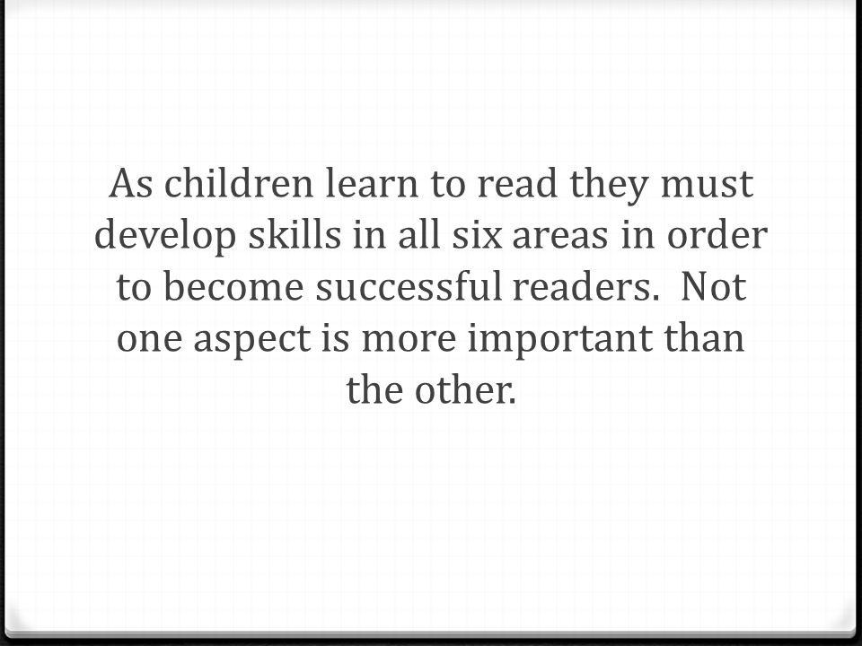 As children learn to read they must develop skills in all six areas in order to become successful readers.