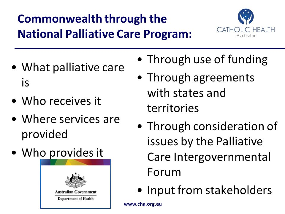 Commonwealth through the National Palliative Care Program: