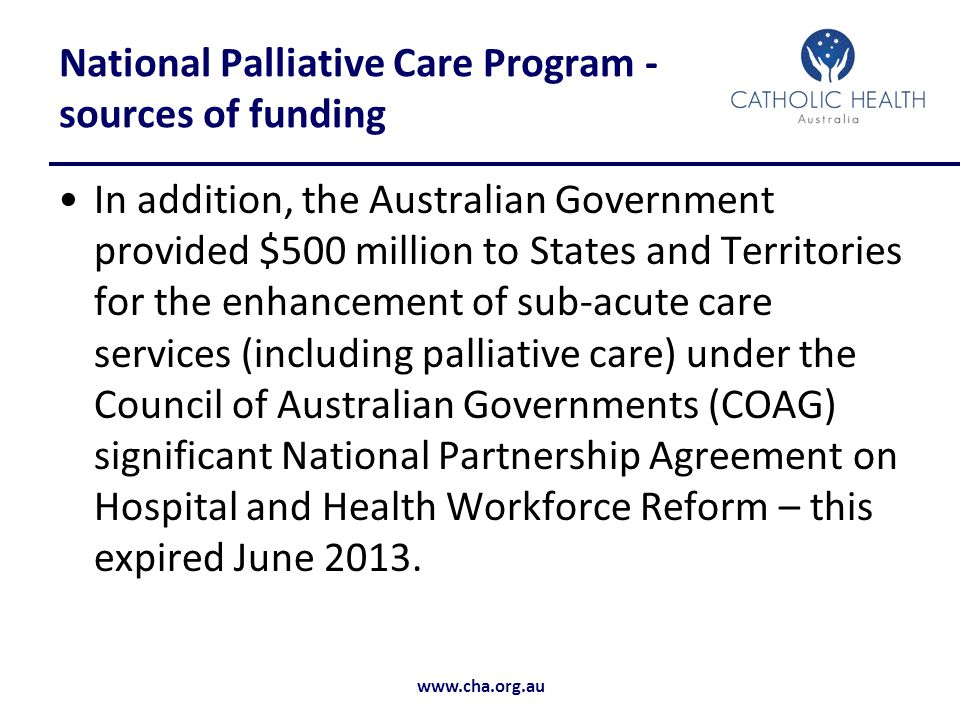 National Palliative Care Program - sources of funding