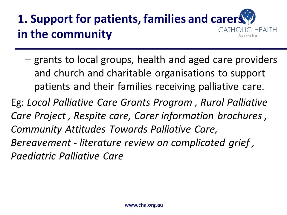 1. Support for patients, families and carers in the community