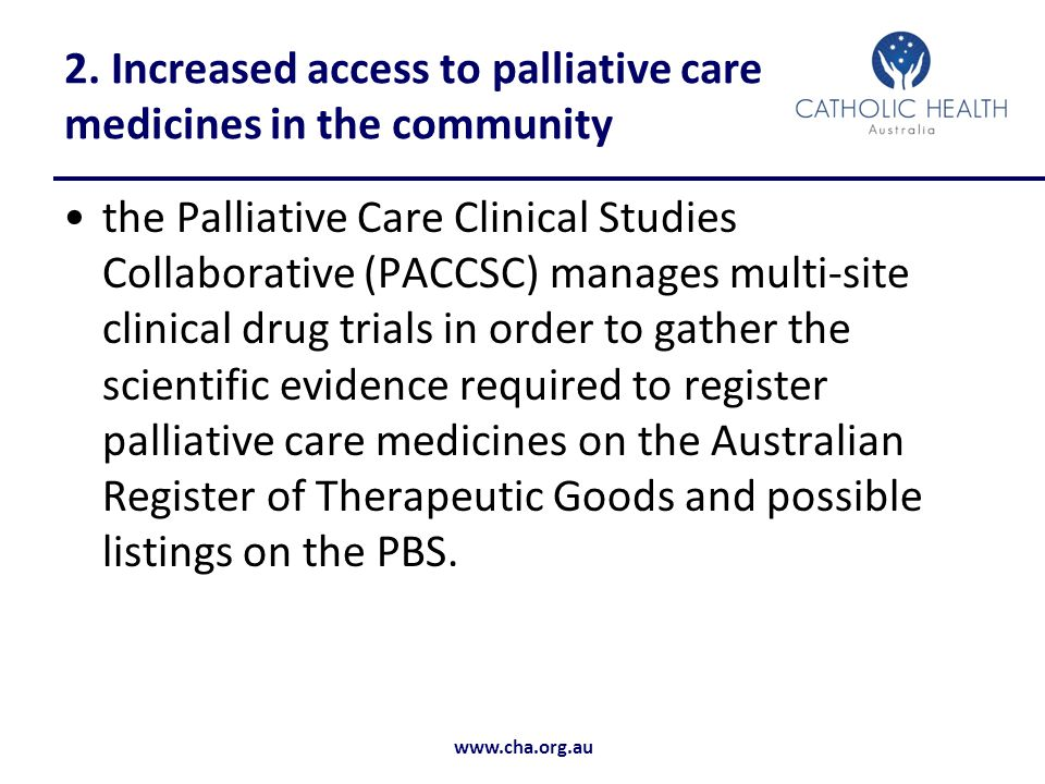 2. Increased access to palliative care medicines in the community
