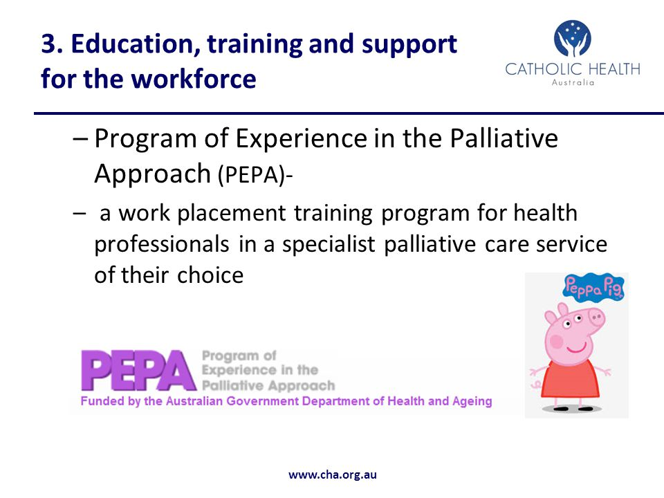 3. Education, training and support for the workforce