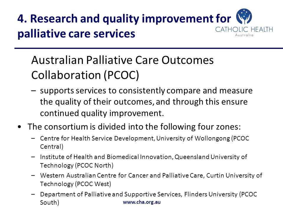 4. Research and quality improvement for palliative care services