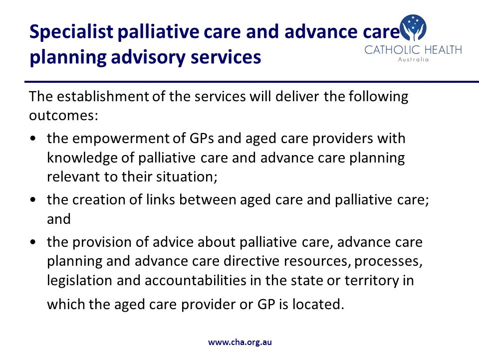 Specialist palliative care and advance care planning advisory services