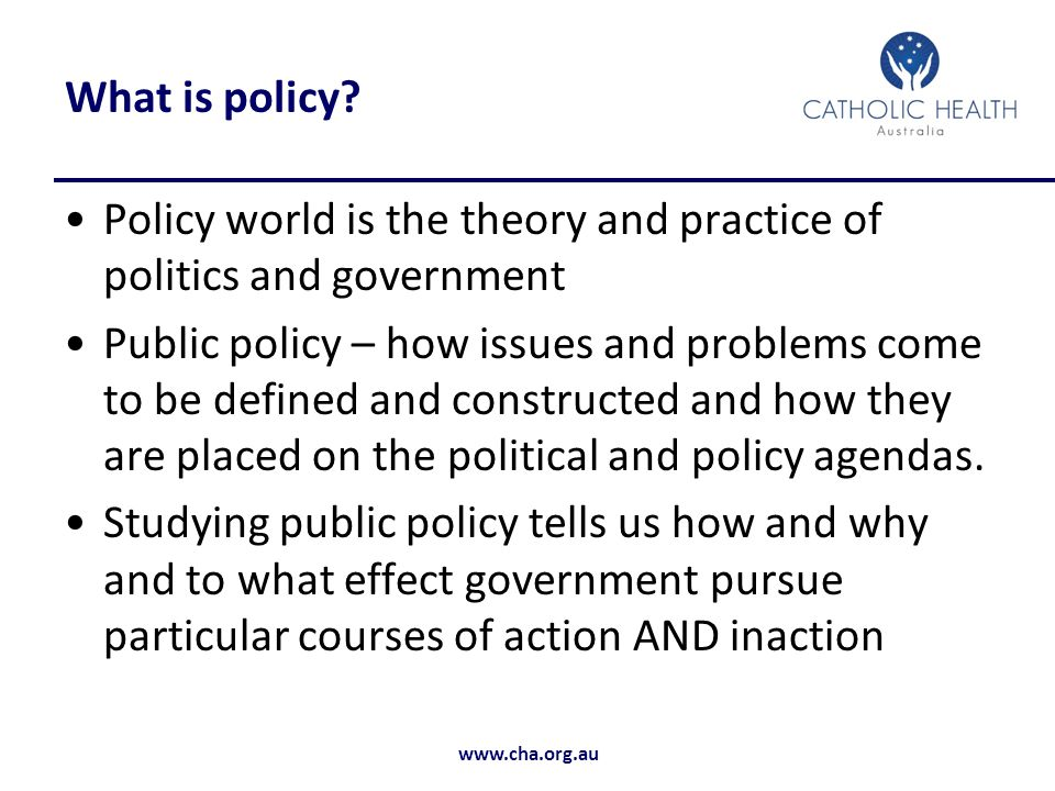 What is policy Policy world is the theory and practice of politics and government.