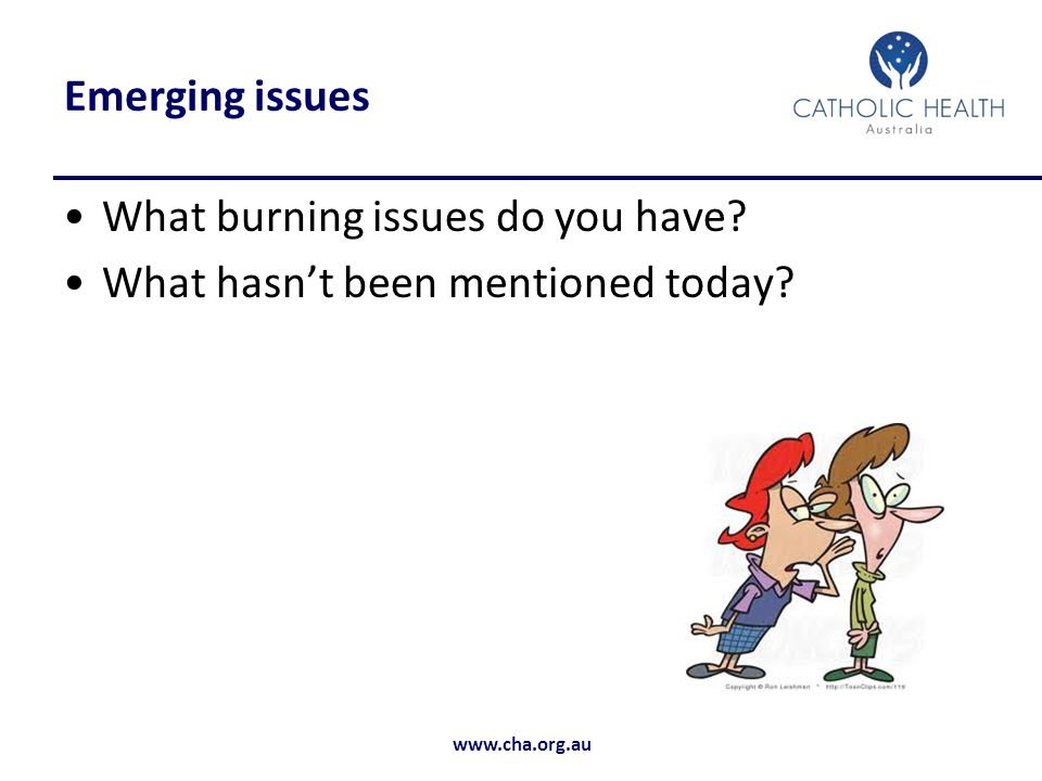 Emerging issues What burning issues do you have What hasn't been mentioned today