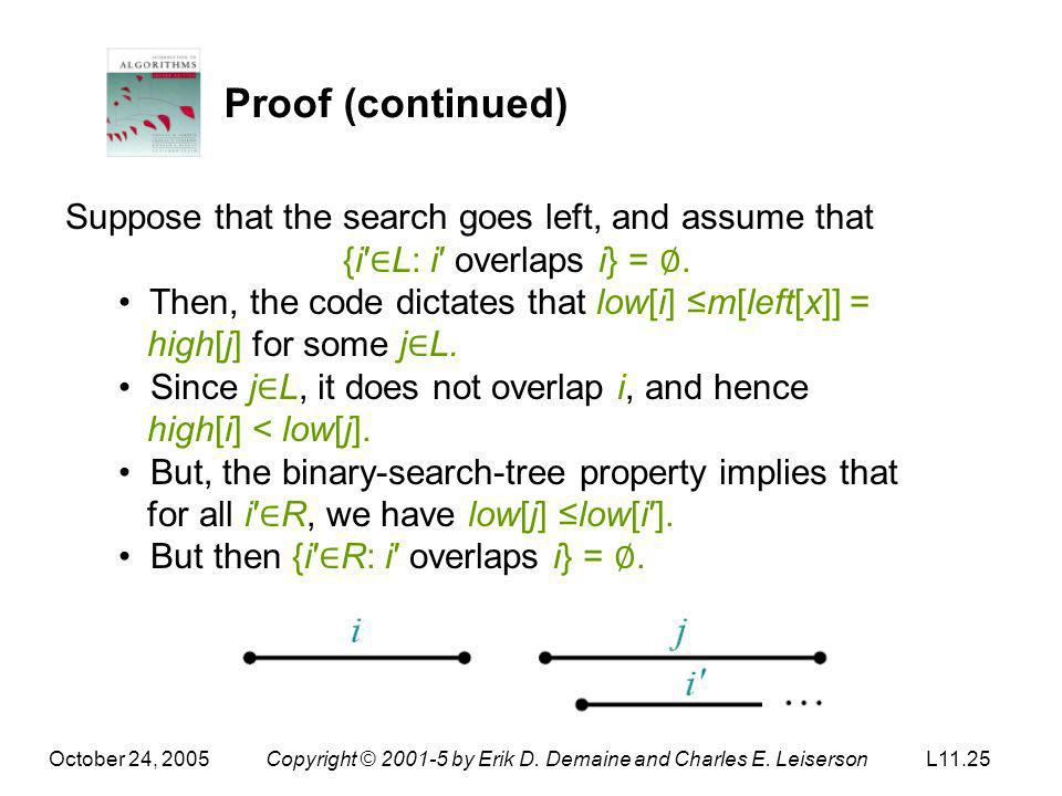 Proof (continued) Suppose that the search goes left, and assume that