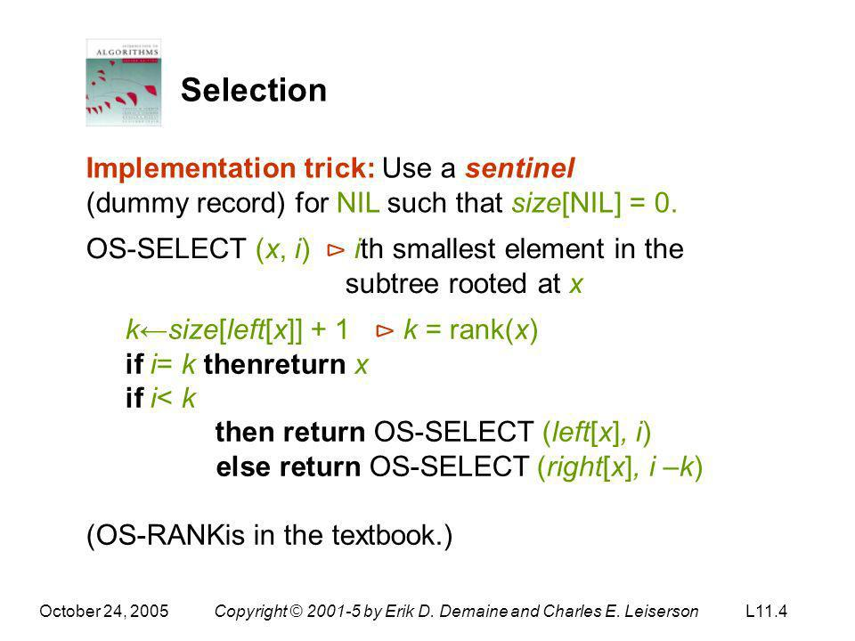 Selection Implementation trick: Use a sentinel