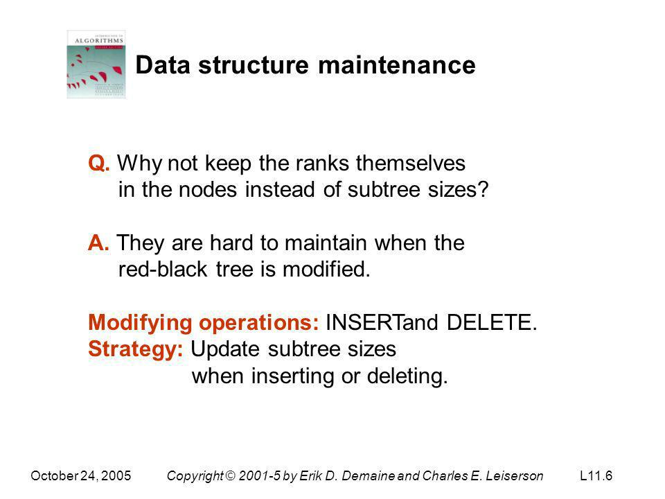 Data structure maintenance