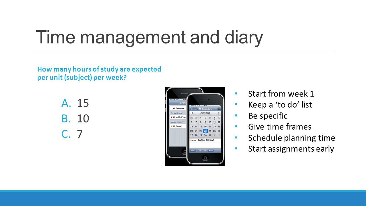 Time management and diary