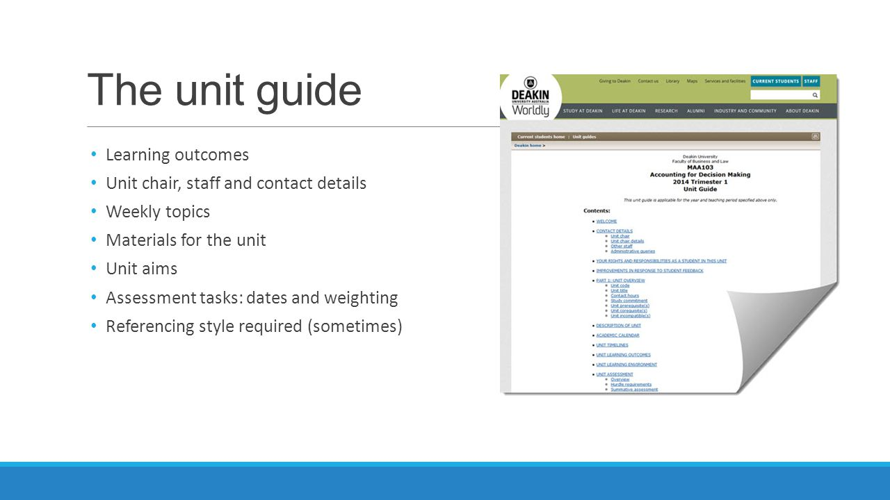 The unit guide Learning outcomes Unit chair, staff and contact details