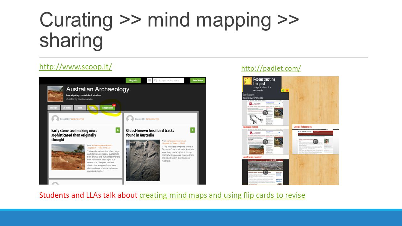Curating >> mind mapping >> sharing