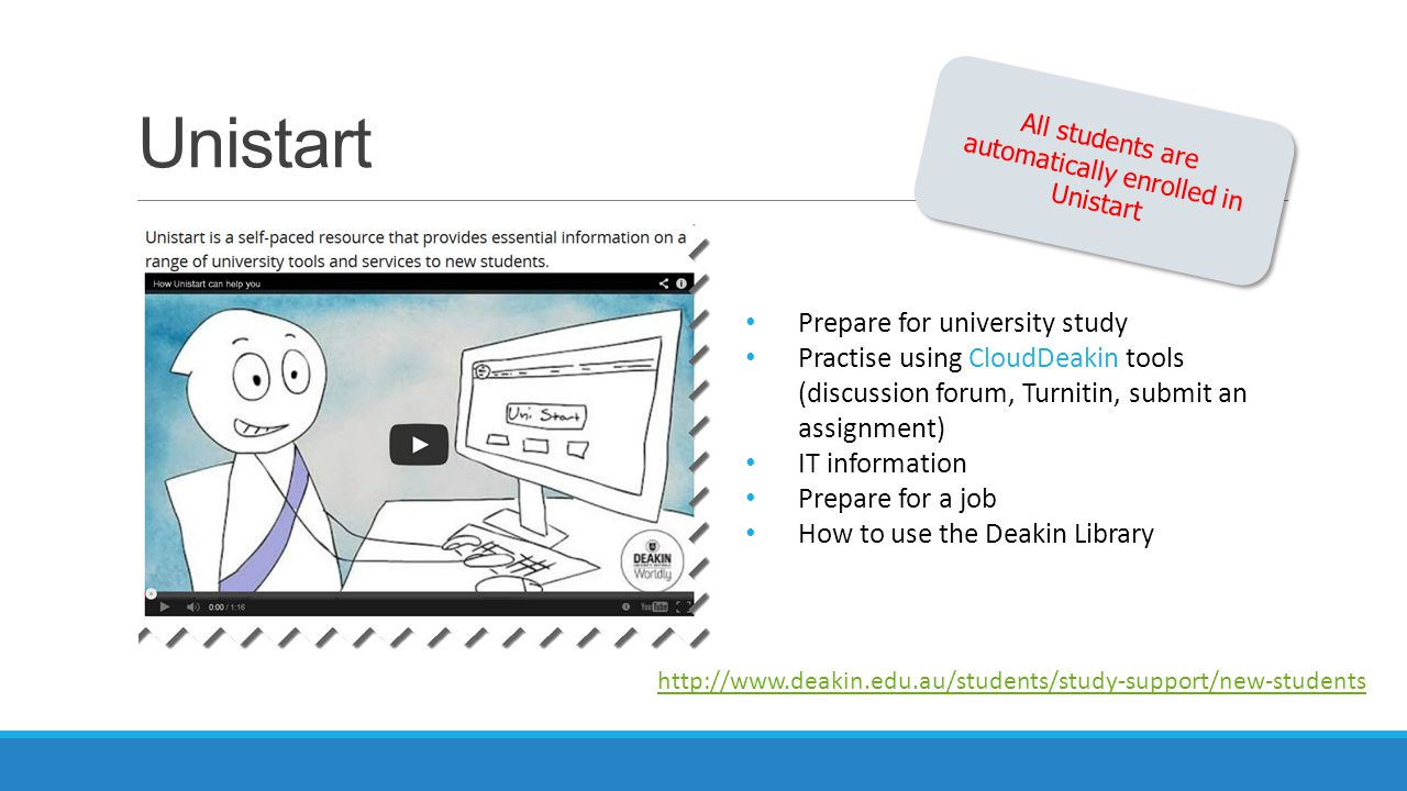 All students are automatically enrolled in Unistart
