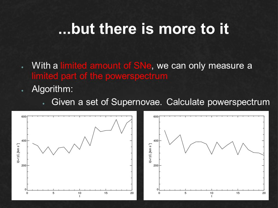 ...but there is more to it With a limited amount of SNe, we can only measure a limited part of the powerspectrum.