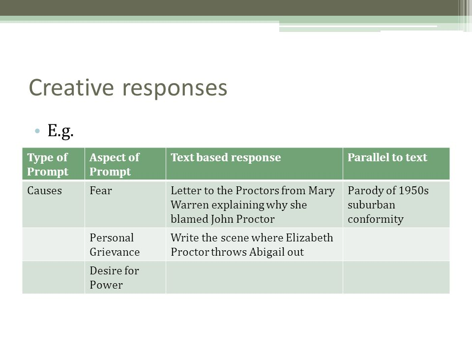 Creative responses E.g. Type of Prompt Aspect of Prompt