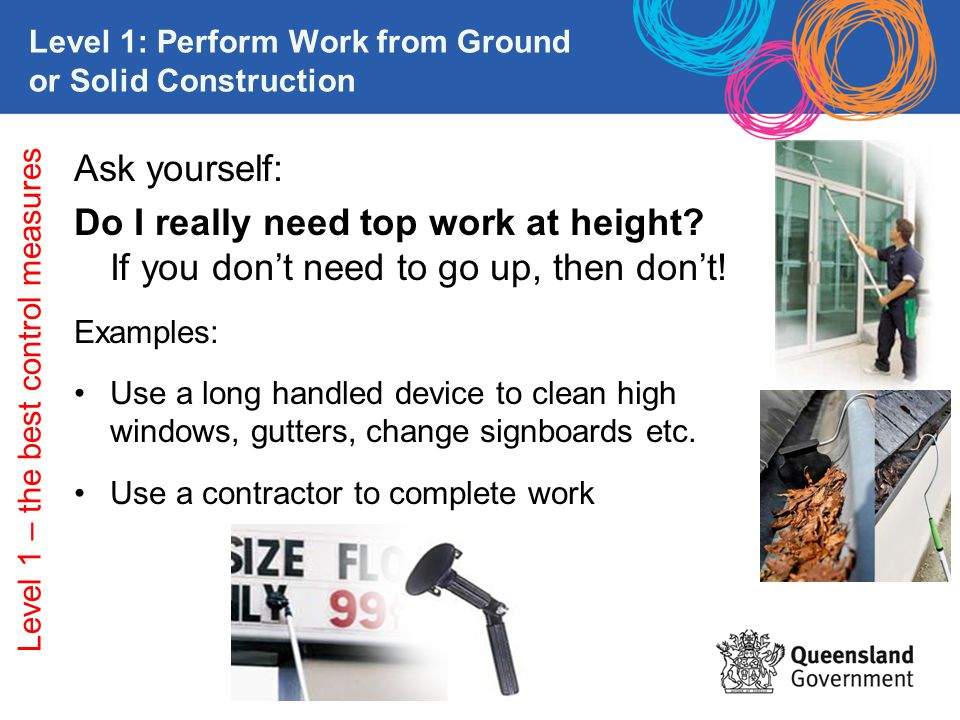 Level 1: Perform Work from Ground or Solid Construction