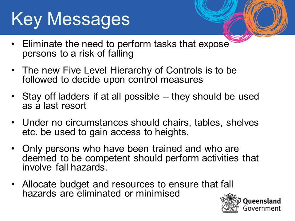 Key Messages Eliminate the need to perform tasks that expose persons to a risk of falling.