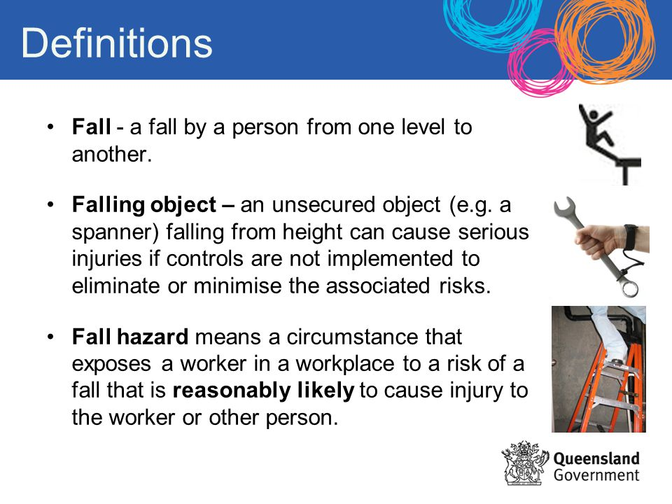 Definitions Fall - a fall by a person from one level to another.