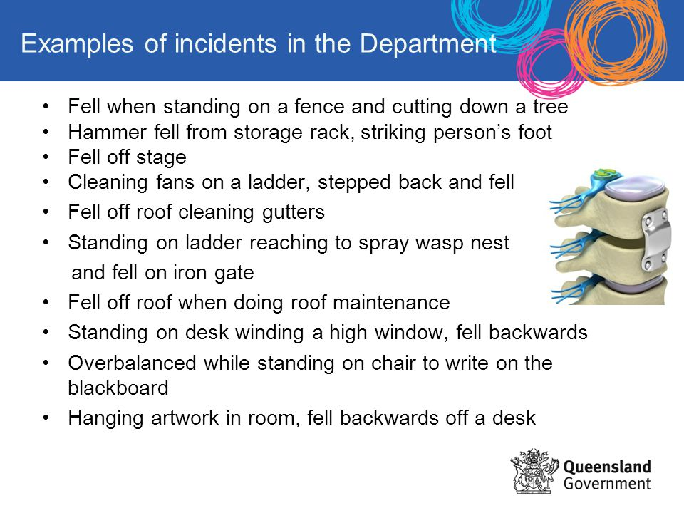 Examples of incidents in the Department