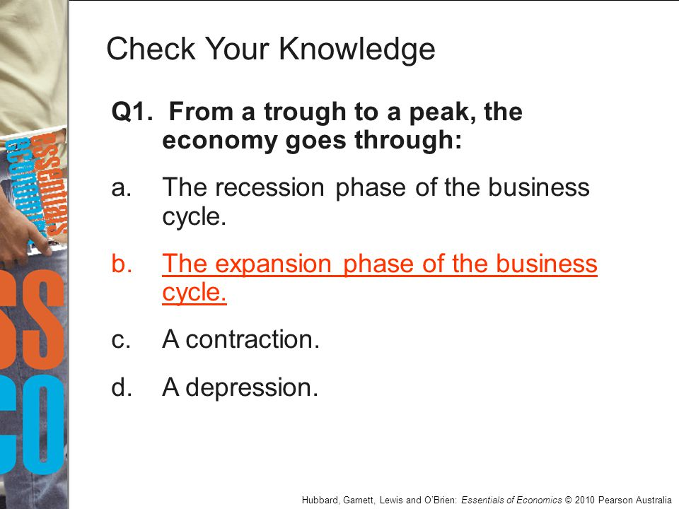 Check Your Knowledge Q1. From a trough to a peak, the economy goes through: a. The recession phase of the business cycle.
