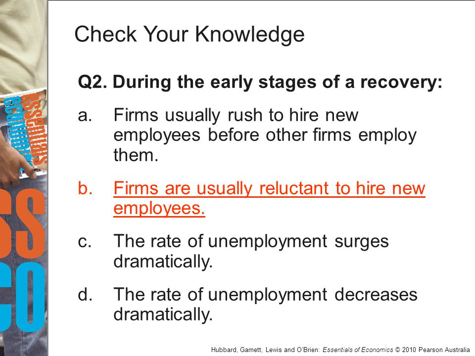Check Your Knowledge Q2. During the early stages of a recovery: