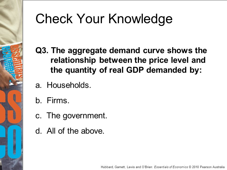 Check Your Knowledge Q3. The aggregate demand curve shows the relationship between the price level and the quantity of real GDP demanded by: