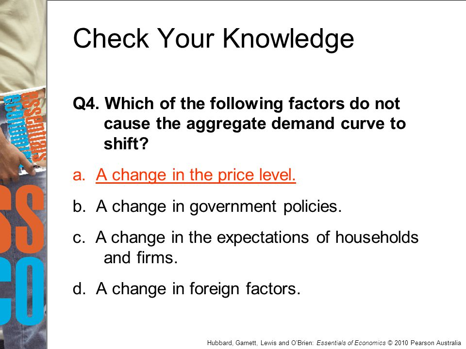 Check Your Knowledge Q4. Which of the following factors do not cause the aggregate demand curve to shift