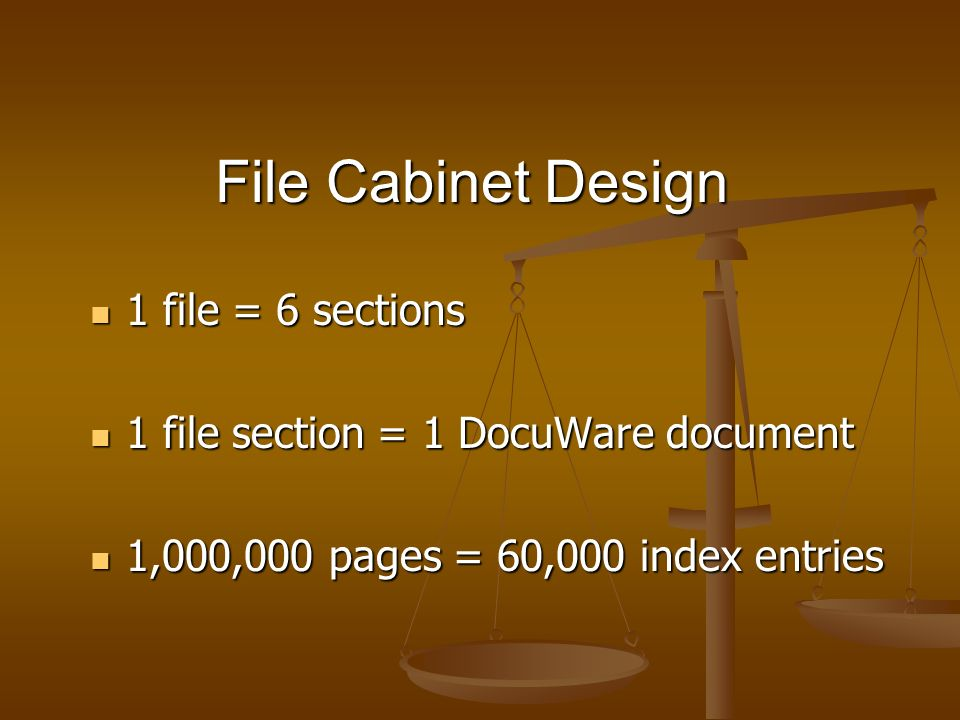 File Cabinet Design 1 file = 6 sections