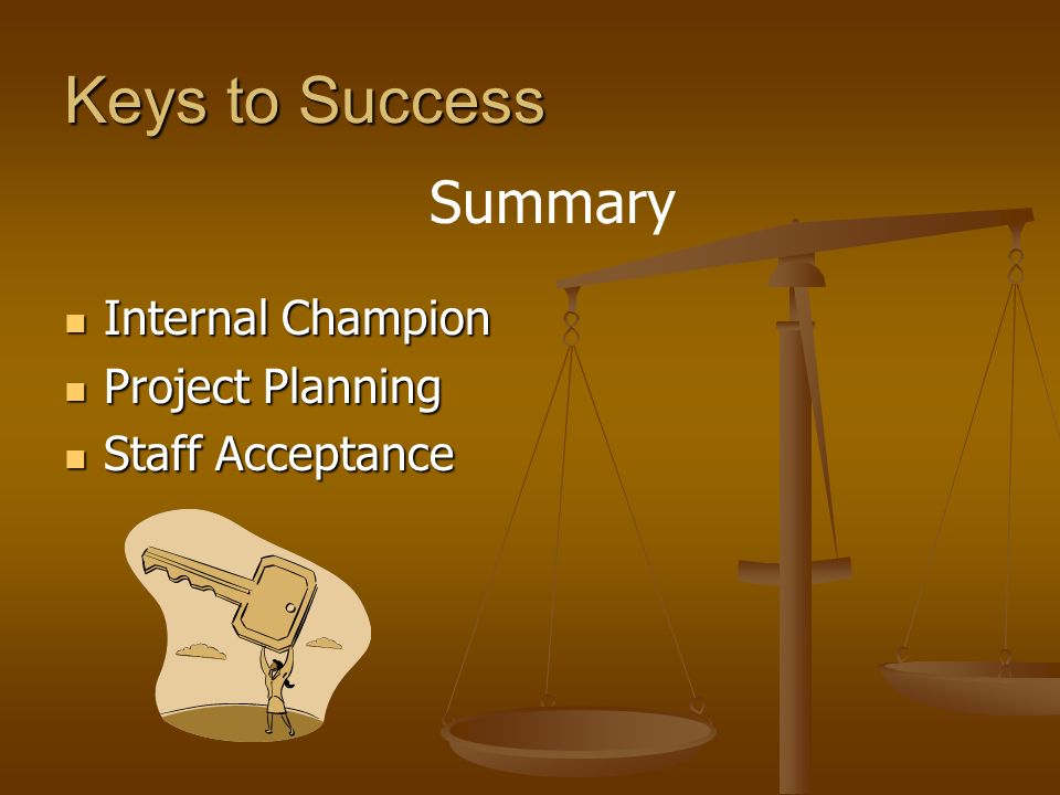 Keys to Success Summary Internal Champion Project Planning