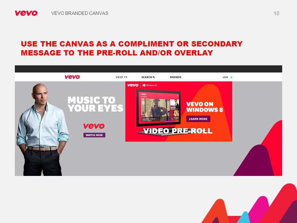 VEVO BRANDED CANVAS USE THE CANVAS AS A COMPLIMENT OR SECONDARY MESSAGE TO THE PRE-ROLL AND/OR OVERLAY.