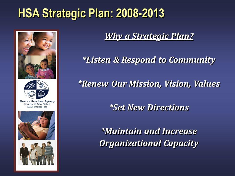 HSA Strategic Plan: 2008-2013 Why a Strategic Plan