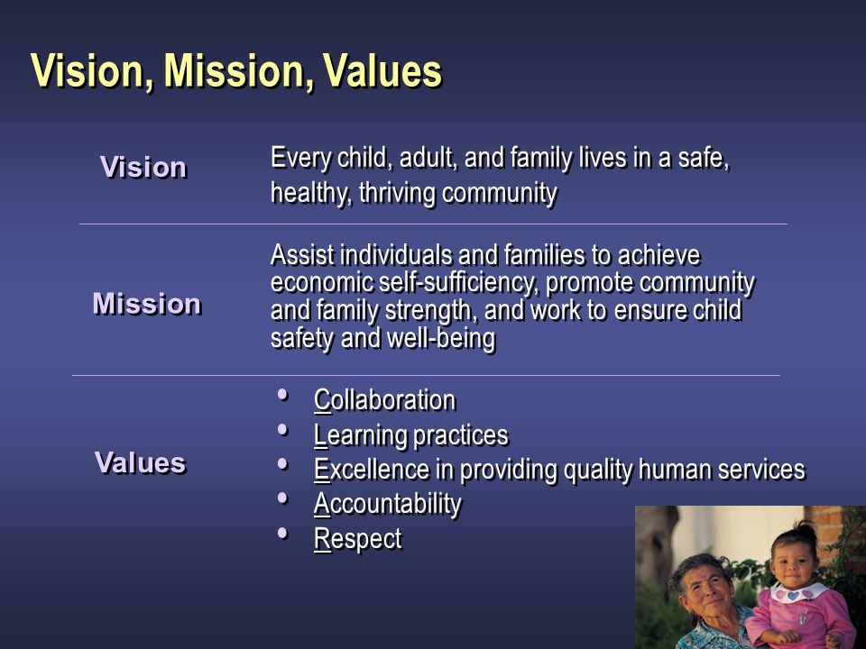 Vision, Mission, Values Every child, adult, and family lives in a safe, healthy, thriving community.
