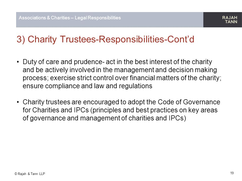 3) Charity Trustees-Responsibilities-Cont'd