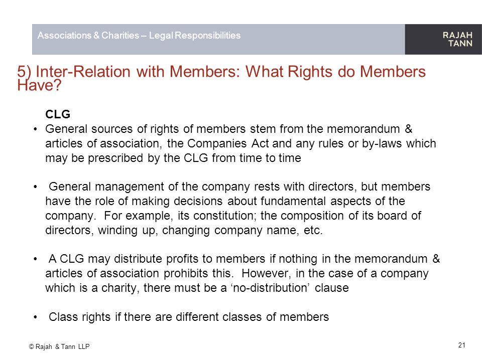 5) Inter-Relation with Members: What Rights do Members Have