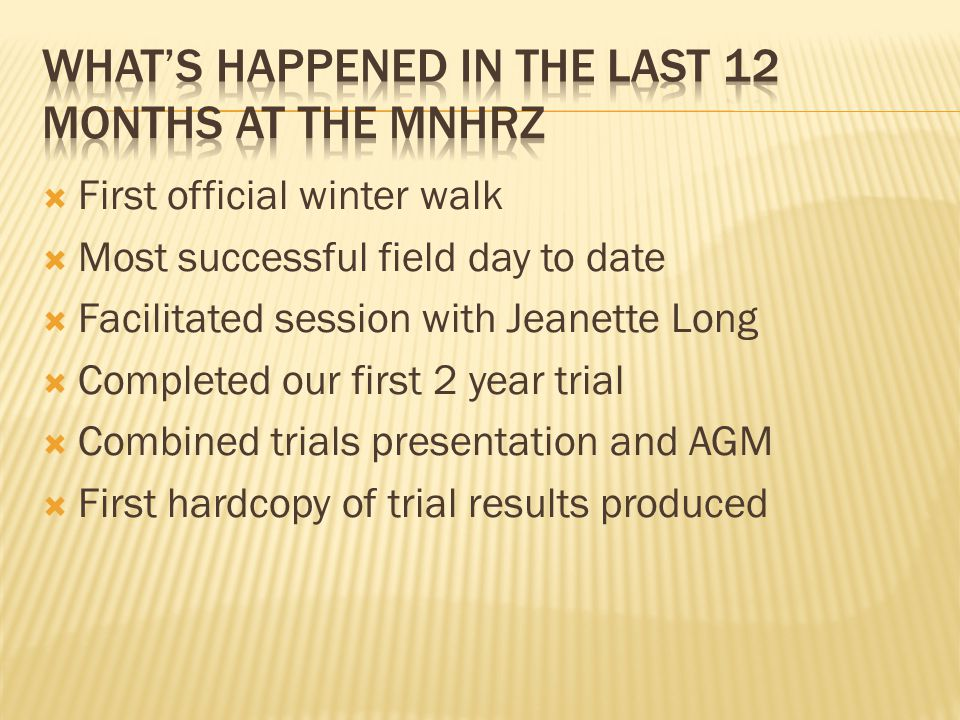 What's happened in the last 12 months at the MNHRZ