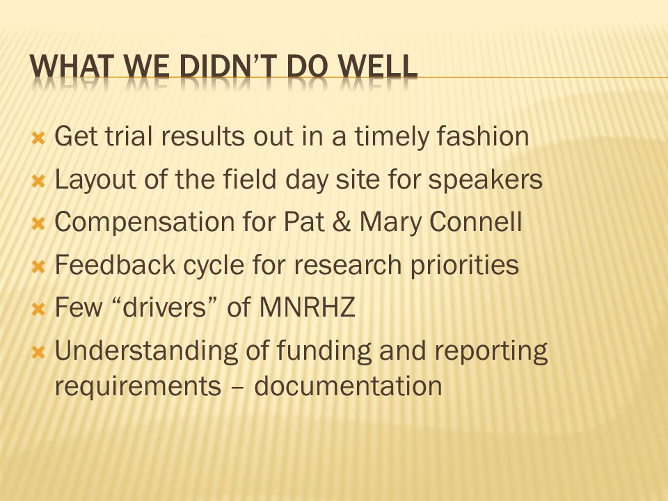 What we didn't do well Get trial results out in a timely fashion