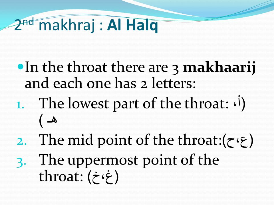2nd makhraj : Al Halq In the throat there are 3 makhaarij and each one has 2 letters: The lowest part of the throat: (أ، هـ )