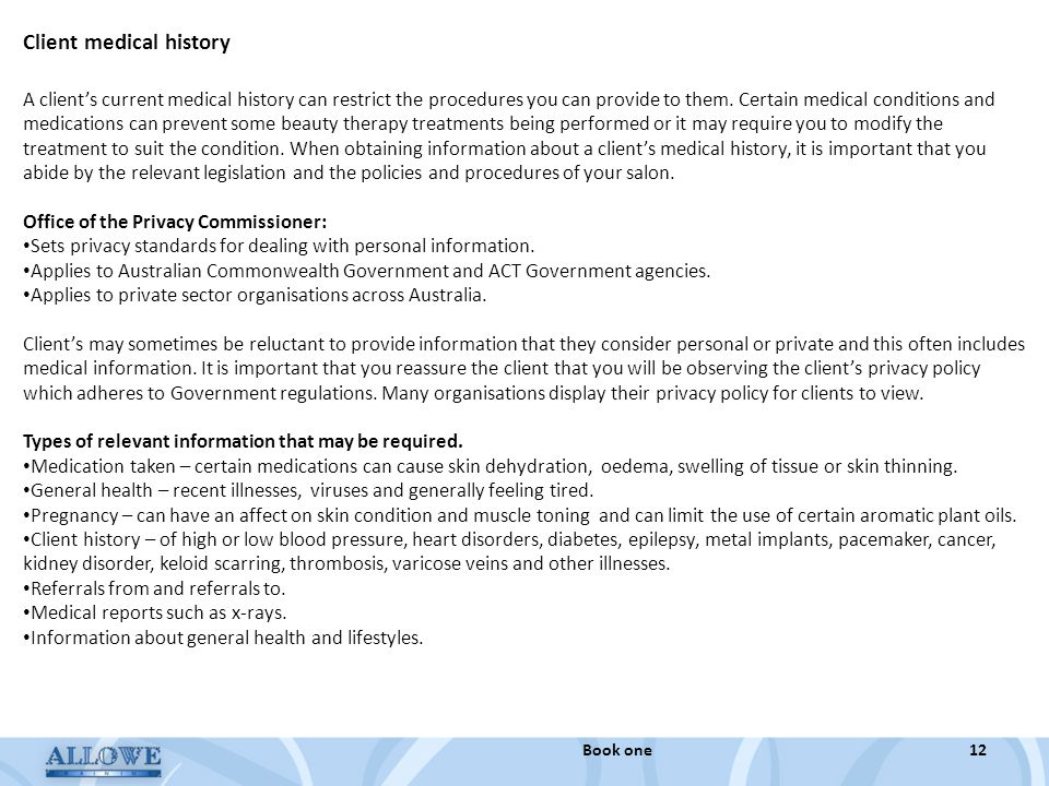 Client medical history