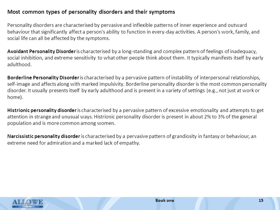 Most common types of personality disorders and their symptoms