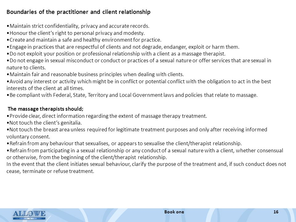 Boundaries of the practitioner and client relationship