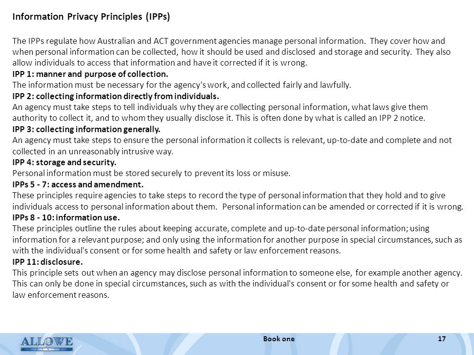 Information Privacy Principles (IPPs)