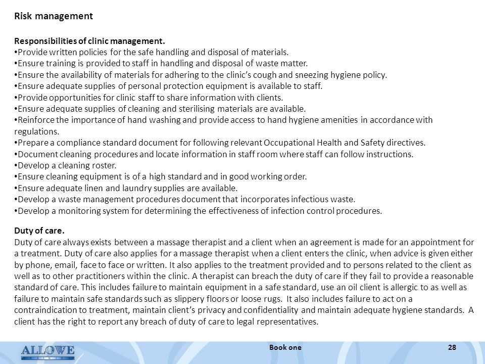 Risk management Responsibilities of clinic management.