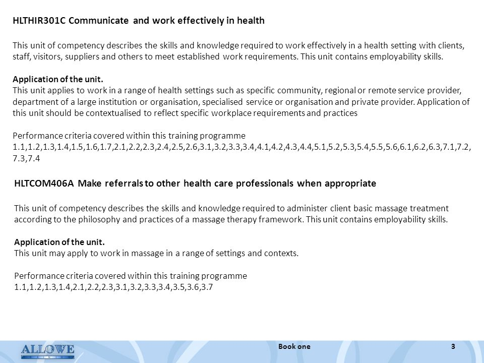 HLTHIR301C Communicate and work effectively in health