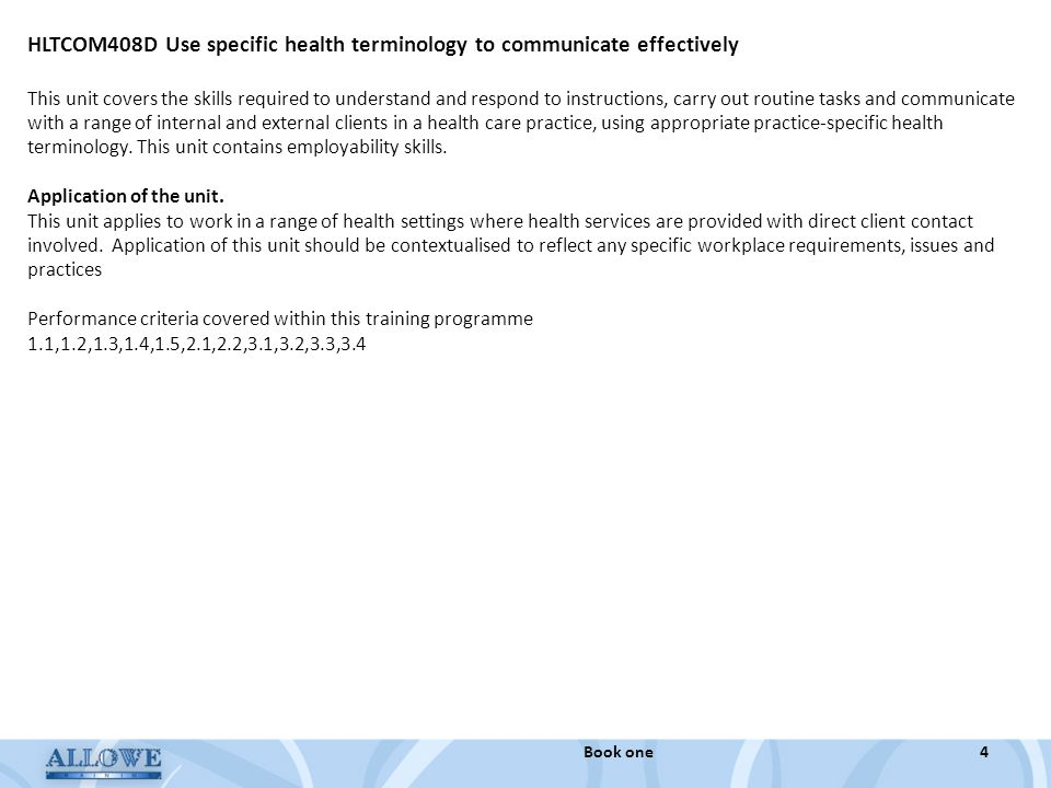 HLTCOM408D Use specific health terminology to communicate effectively