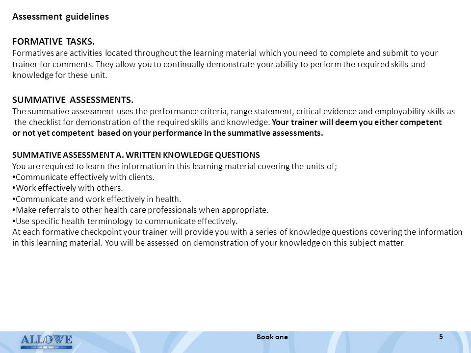 Assessment guidelines FORMATIVE TASKS.