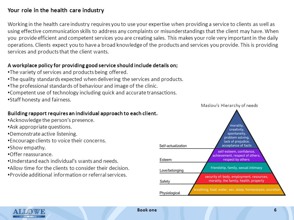 Your role in the health care industry