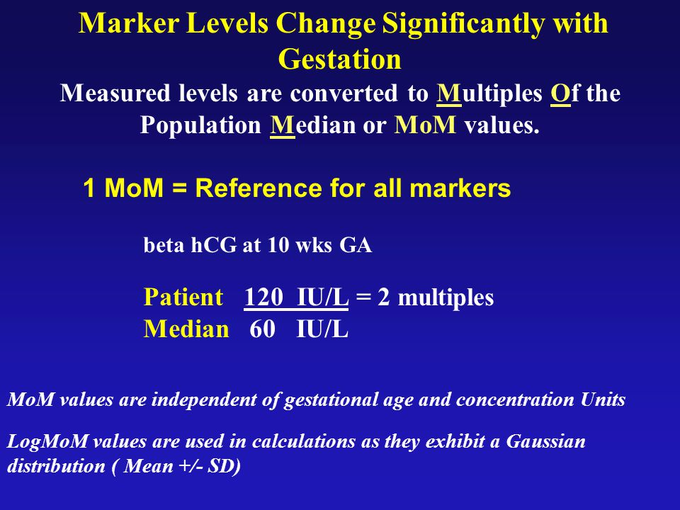 Marker Levels Change Significantly with Gestation